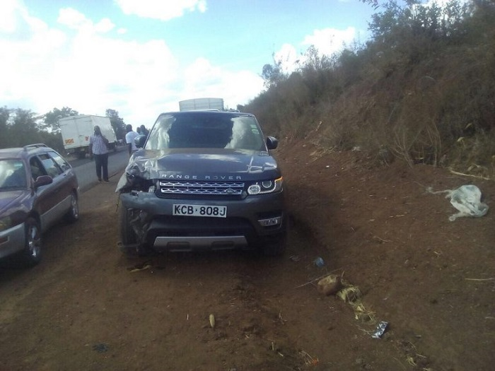 Jaguar's Range rover at the scene of the accident PHOTO COURTESY