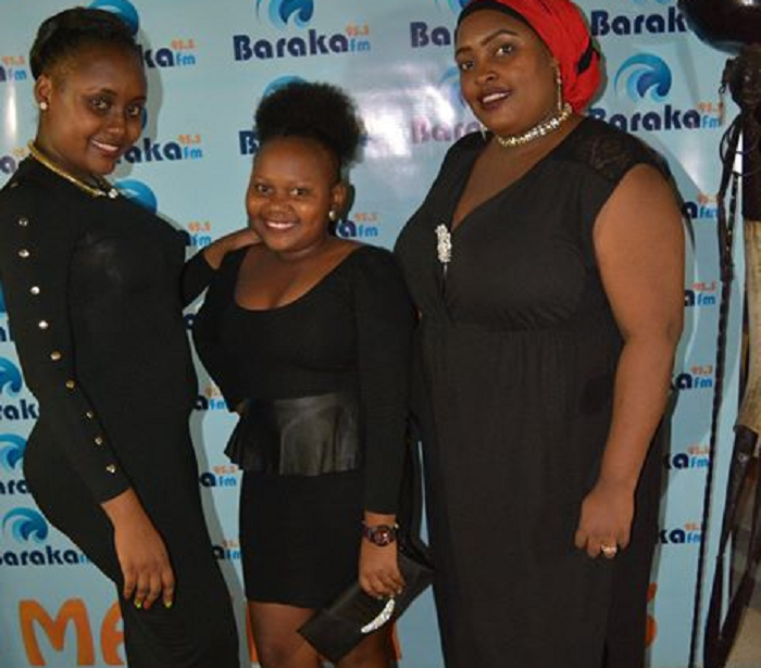 Baraka fm presenters Mnyanzi Kakinda (L),Neema Sulubu (M) and Lutfia Bakari (R) Photo:PAUL NZIOKA