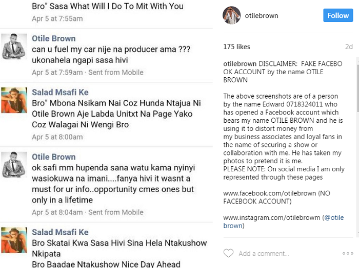 A Screenshot of the post by Otile COURTESY