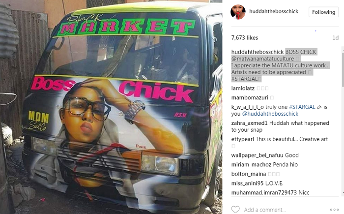 A snaposhot of the post by Huddah PHOTO COURTESY