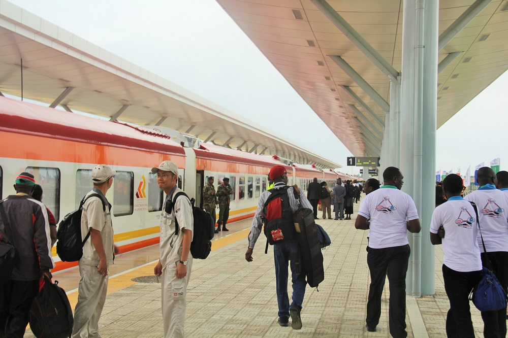 Passengers boarding the Madaraka Express.