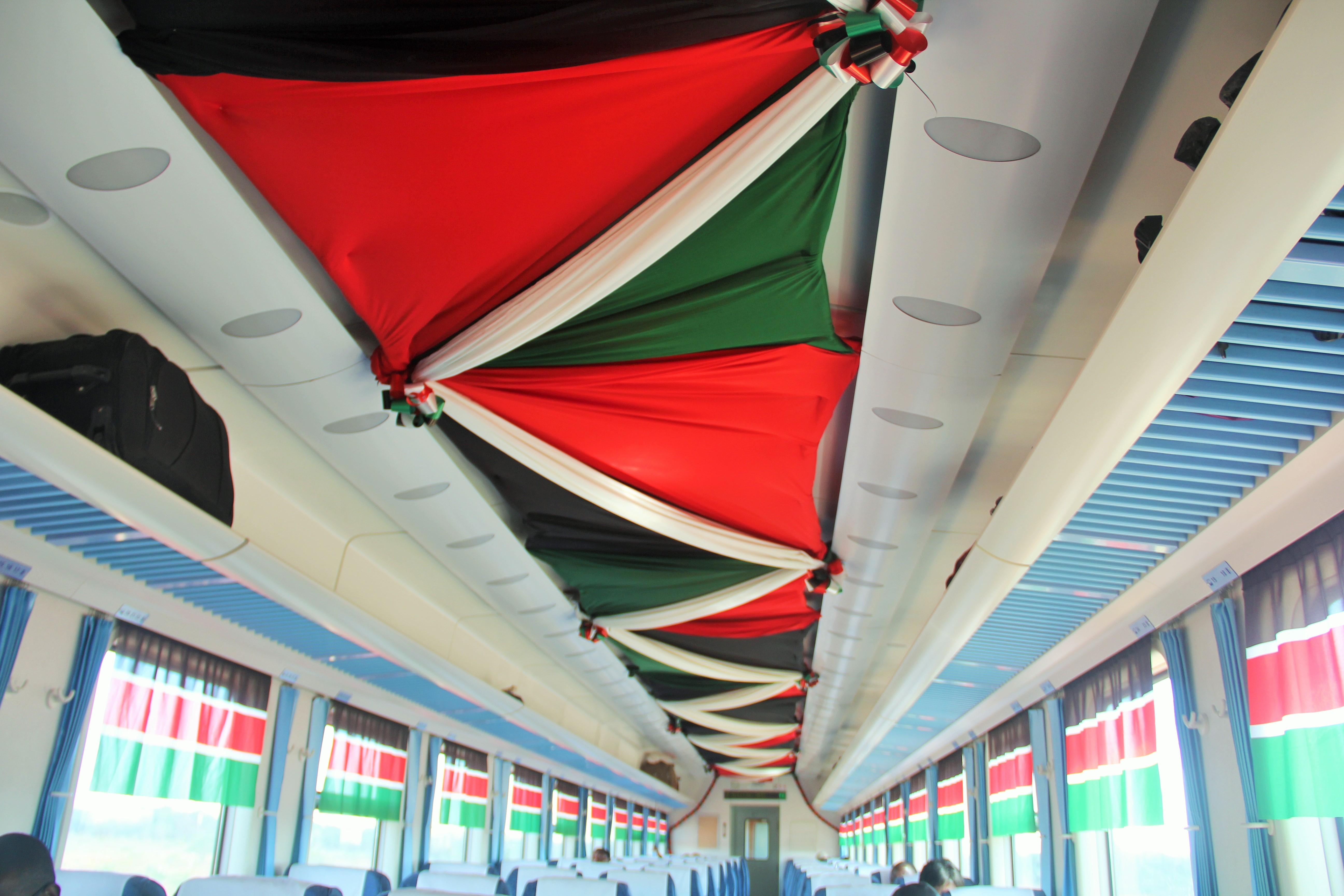 Inside the Madara Express train.