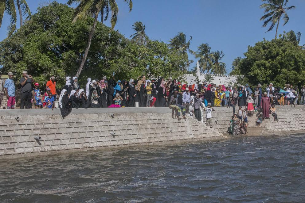 Residents witness the launch of the sea wall. PHOTO: NATASHA NEMA.