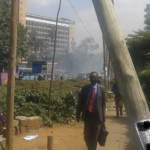 police lob teargas to disperse NASA supporters at Milimani law courts in Nairobi