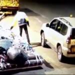 Aircraft mashaller stealing luggage straps